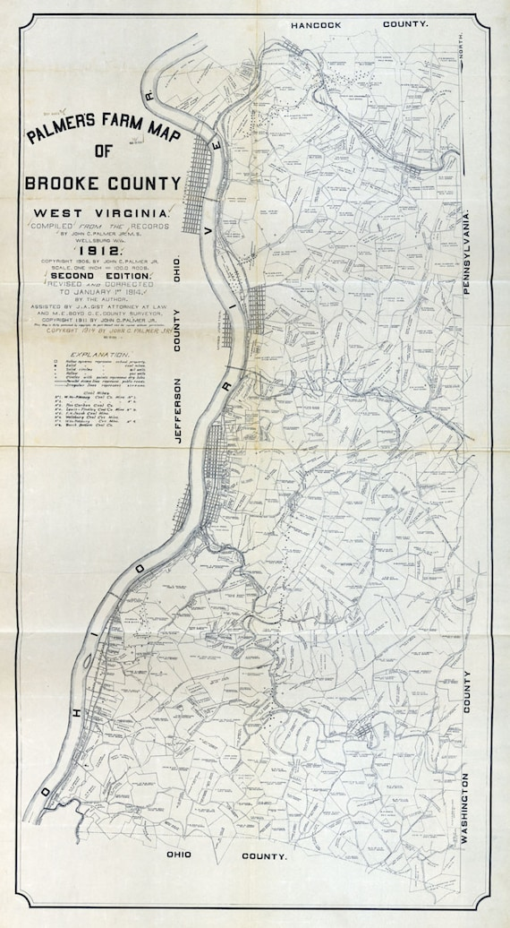 1912 Farm Line Map Of Brooke County West Virginia Showing Oil Etsy