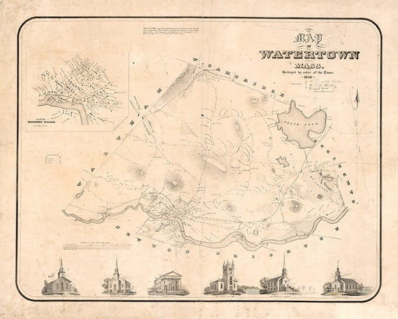 1850 Map of Watertown Massachusetts | Etsy