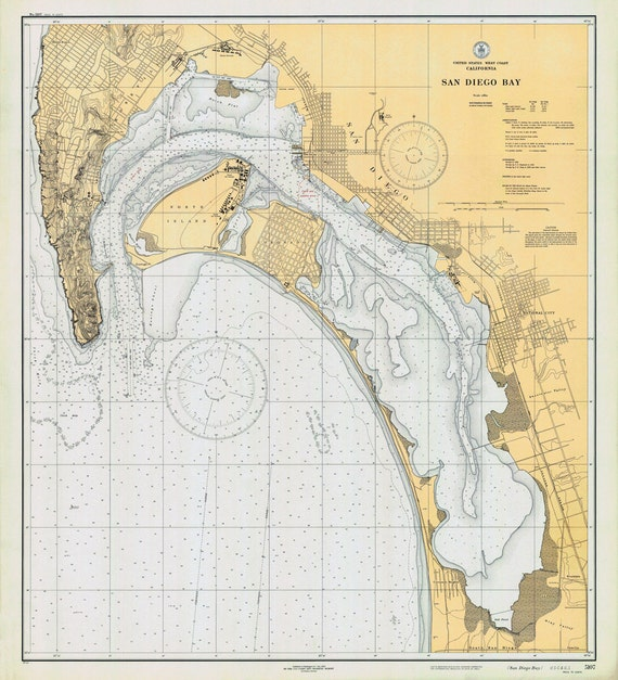 1933 Nautical Map Of San Diego Bay California Etsy