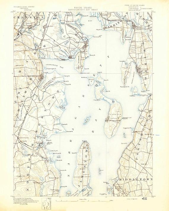 Topographic Map Rhode Island.1890 Topo Map Of Narragansett Bay Rhode Island Etsy