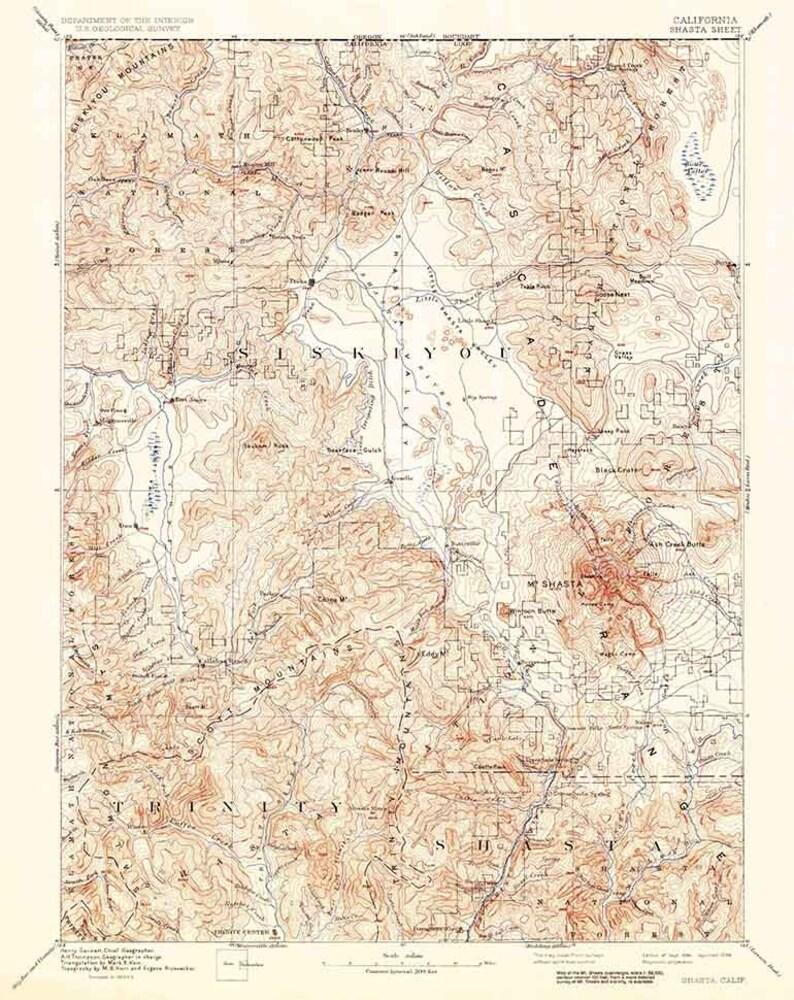 1894 Topo Map of Shasta California Siskiyou Mt Shasta | Etsy