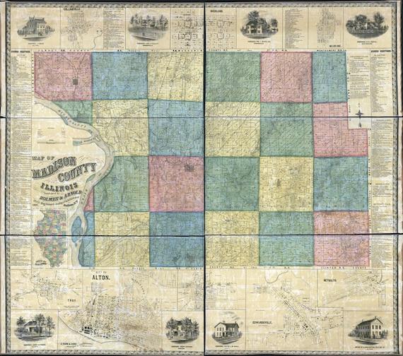 1861 Farm Line Map Of Madison County Illinois Edwardsville Etsy