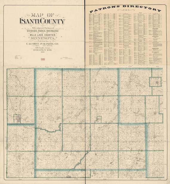 Princeton Minnesota Map.1898 Map Of Isanti County Minnesota Princeton Etsy