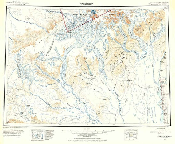 1950 Topo Map Of Talkeetna Alaska Quadrangle Etsy