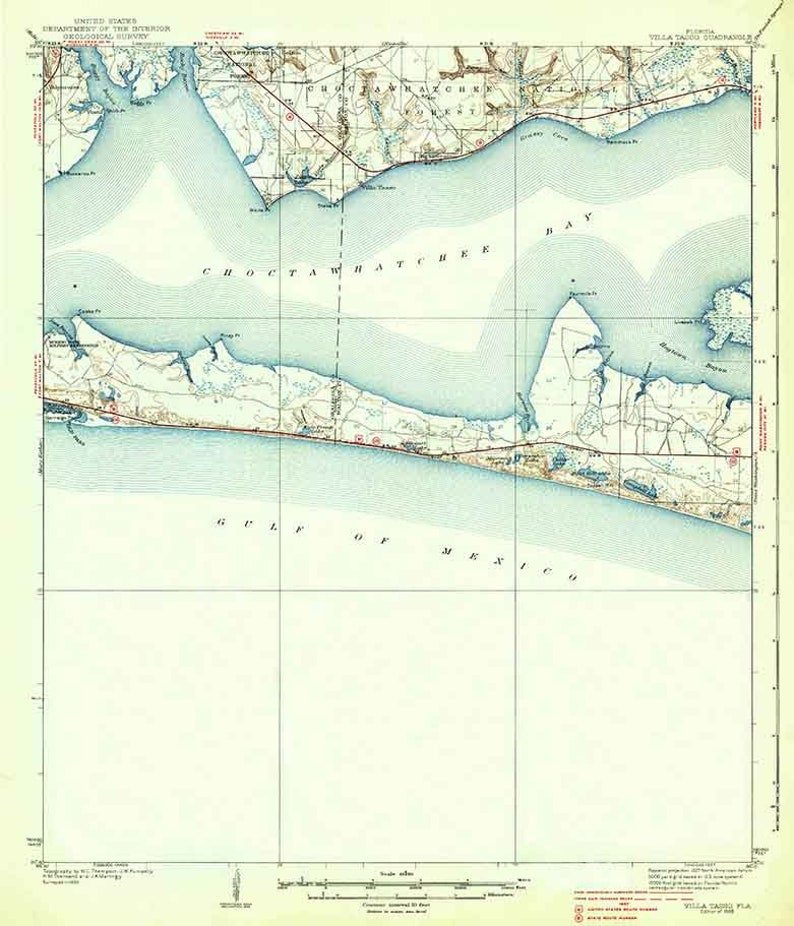1938 Topo Map of Villa Tasso Florida Quadrangle Destin