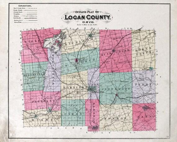 1890 Map Of Logan County Ohio Etsy