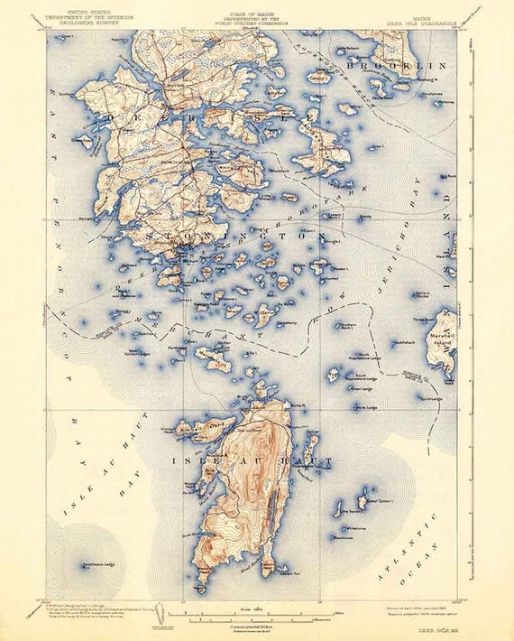 Topo Map Of Maine.1904 Topo Map Of Deer Isle Maine Quad Stonington Etsy