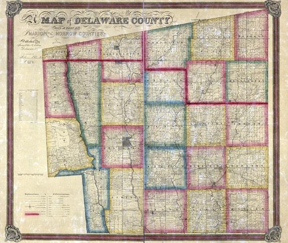 1849 Farm Line Map Of Delaware County Ohio Scioto River Etsy