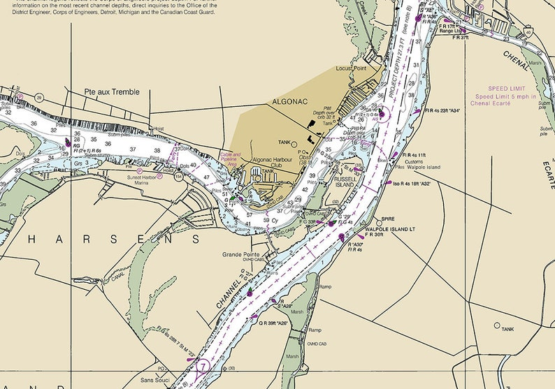 2018 Nautical Map of Saint Clair River Lake Huron Michigan