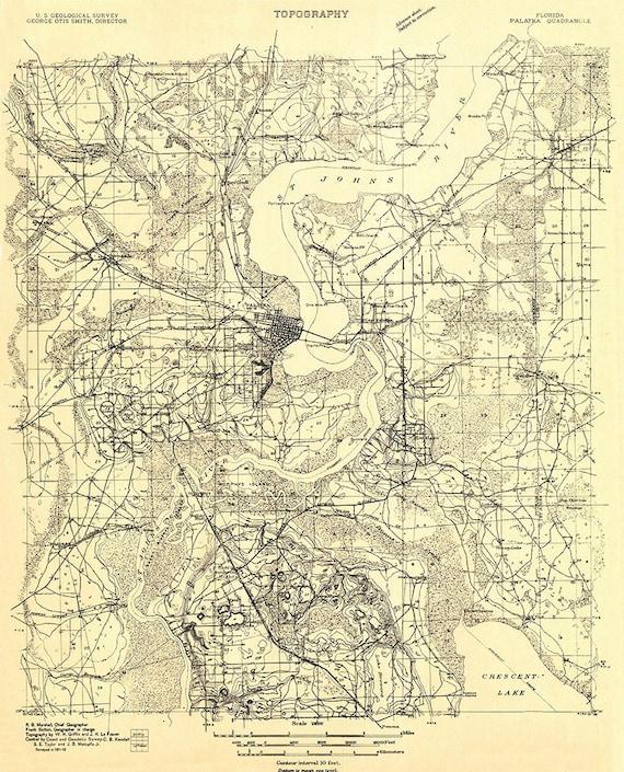 Palatka Florida Map.1912 Topo Map Of Palatka Florida Quadrangle Etsy
