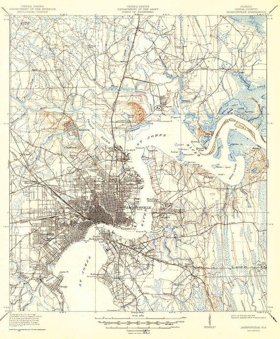 Elevation Map Of Florida.1918 Topo Map Of Jacksonville Florida Quadrangle Etsy