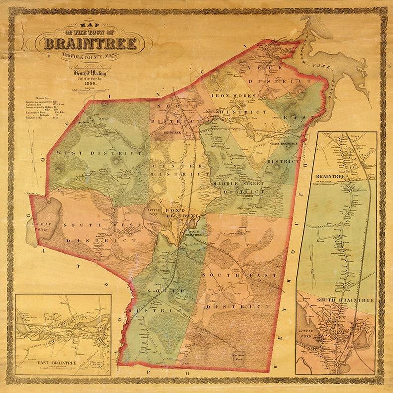 1856 Map of Braintree Norfolk County Massachusetts