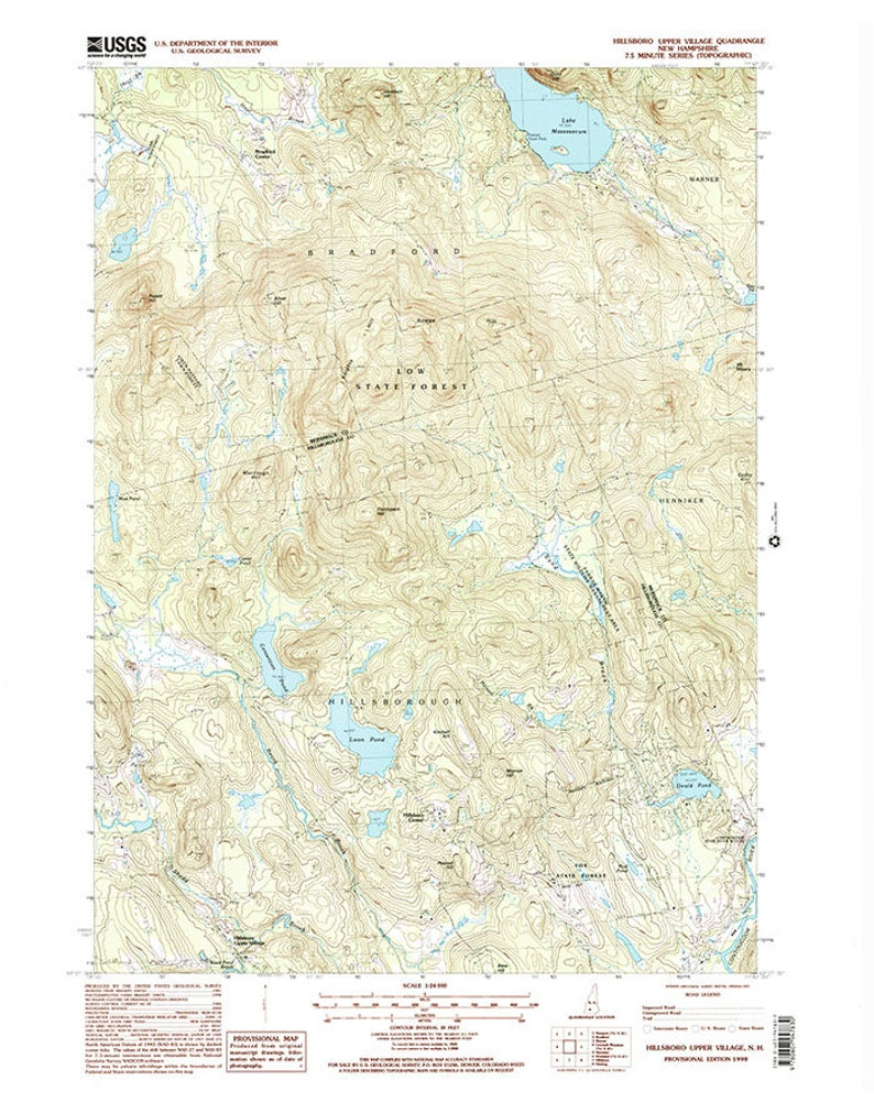 1998 Map of Hillsboro Village and Goulds Pond NH   Etsy