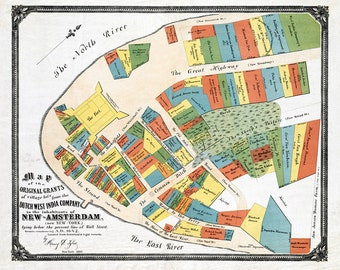 1642 Map Layout of New-Amsterdam New York City