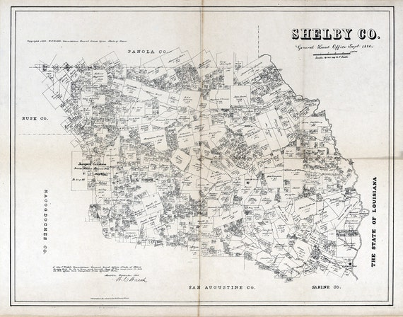 1880 Farm Line Map Of Shelby County Texas