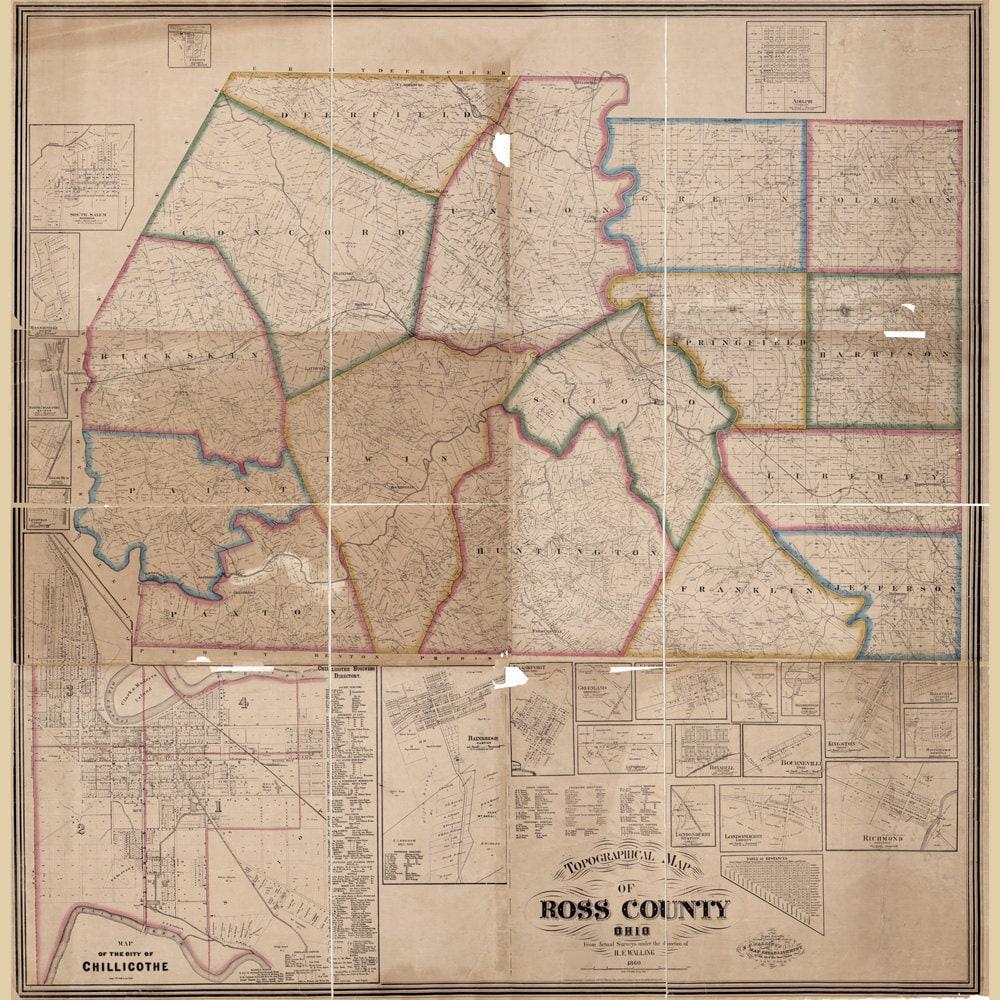 1860 Farm Line Map Of Ross County Ohio Bainbridge Chillicothe Etsy