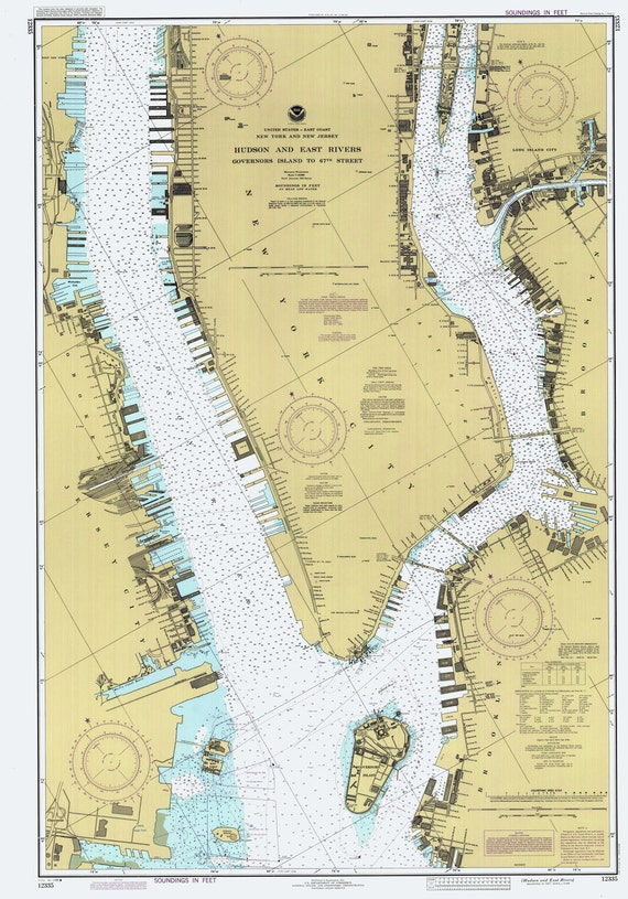 1986 Nautical Map Of Hudson And East Rivers New York City Etsy