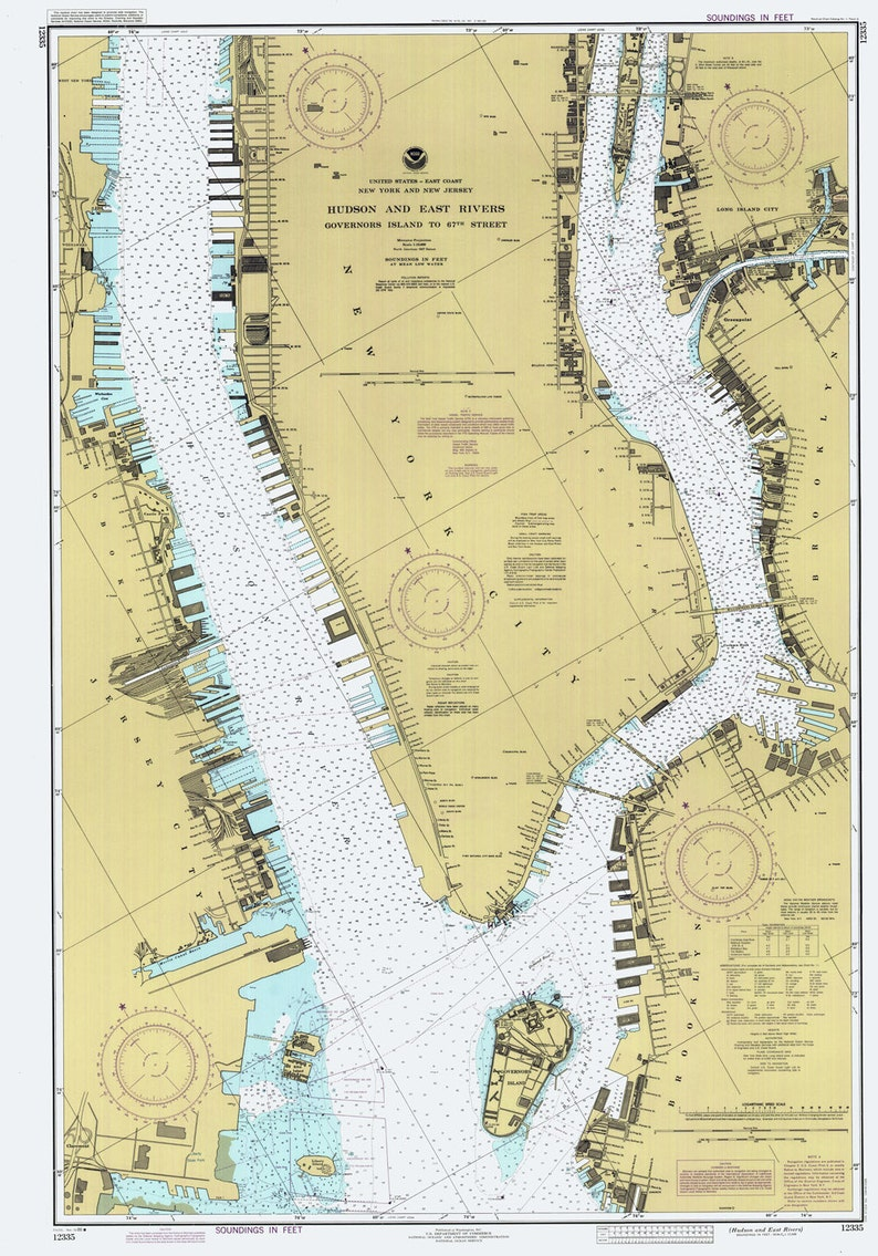 Map Of New York Rivers.1986 Nautical Map Of Hudson And East Rivers New York City