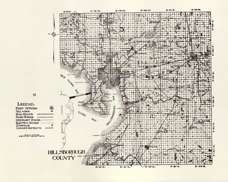 County Map Of Florida With Roads.1914 Map Of Hillsborough County Florida Tampa
