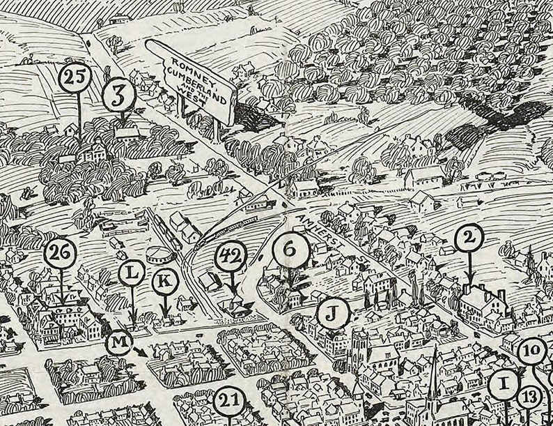 1926 Panoramic Map of Winchester Virginia