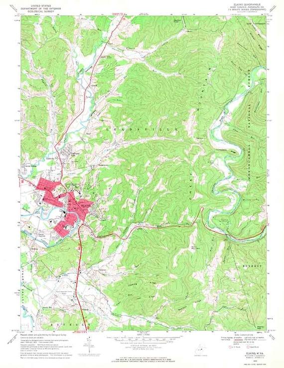 1969 Topo Map Of Elkins West Virginia Quadrangle Etsy