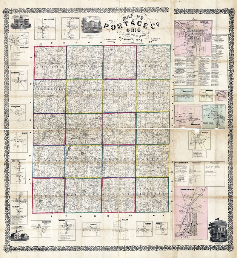 1857 Farm Line Map Of Portage County Ohio Ravenna Franklin Etsy