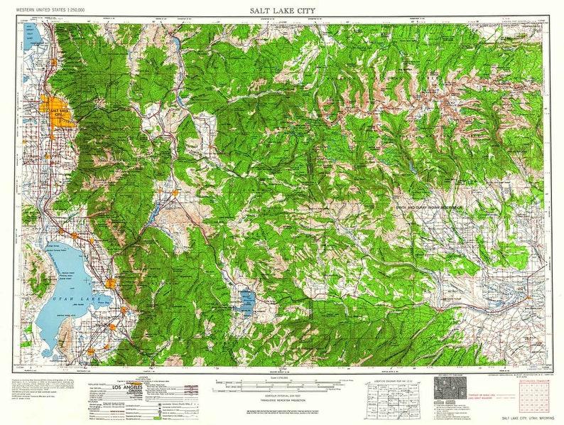 1960 Topo Map of Salt Lake City Utah Heber Provo | Etsy