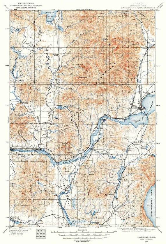 1911 Topo Map of Sandpoint Idaho Selkirk Mountains Pend Oreille Lake