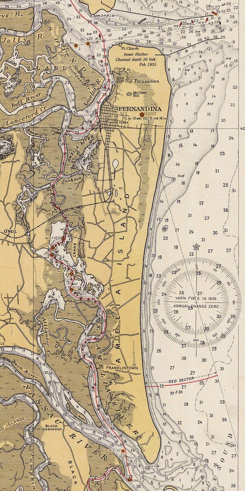 1936 Map of Amelia Island Florida | Etsy