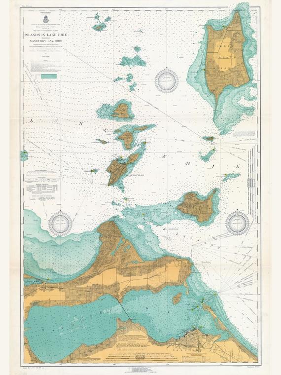 1917 Nautical Map Lake Erie Islands Sandusky Bay Ohio Etsy