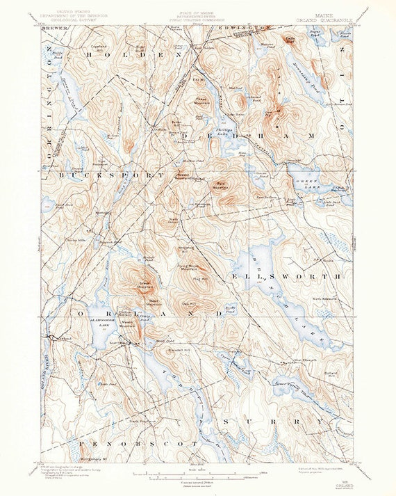 Orland Maine Map.1900 Topo Map Of Orland Maine Ellsworth Branch Lake Etsy