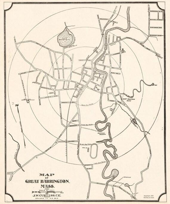1919 Map Of Great Barrington Massachusetts