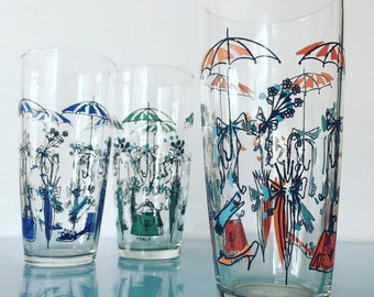 Trio of Mid Century Italian Drinking Tumblers, Highball Glasses. Decor in the form of Umbrellas, Handbags, High Heeled Shoes Circa 50s 60s.