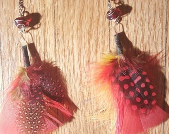 Red & Yellow Spotted Feather Earrings