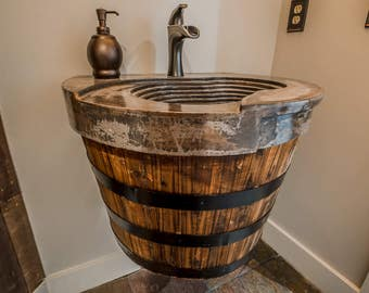 Whiskey Barrel Sink Etsy