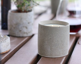 Candle with concrete burning plate, Summer candles, patio candles concrete home decor