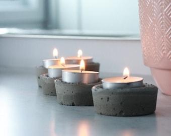 tea light holder, 5 pack concrete tea light holders with tea lights, dinner table décor and mantel décor