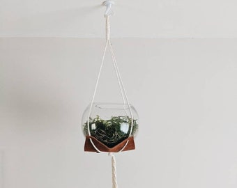 planter hanger, minimalist leather and cotton cord succulent plant holder, hanging planter indoor