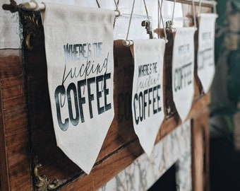 coffee lovers wall hanging banner, kitchen sign, canvas banner home wall art, holiday gifts
