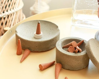 Concrete ash catcher with storage jar. Ash tray burning dish with cone incense.