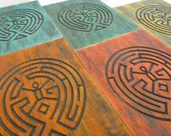 Westworld maze carving / wood decor / west world theme / dyed wood / wild west future Dolores / the maze is not meant for you.