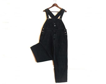 e151e88306 Vintage Boss Athletics black denim jean bib overalls dungarees