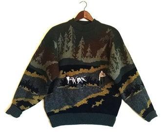 5d5445d41906 Vintage hunting dog outdoor camouflage jumper sweater