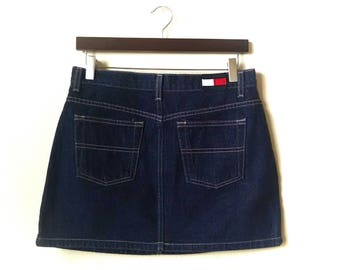 6732142ef Vintage Tommy Hilfiger logo mini denim jean skirt