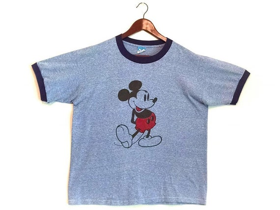 Vintage 1980s blue Mickey Mouse Disney ringer t-sh