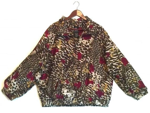 Vintage 1990s floral animal print rose cheetah leo