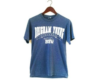 Vintage 1980s Brigham Young University BYU Cougars Velva Sheen paper thin tshirt