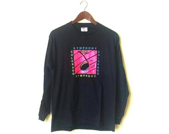 Vintage 1980s Colorado Symphony Run 50/50 neon black long sleeve shirt AmPgWxu0H