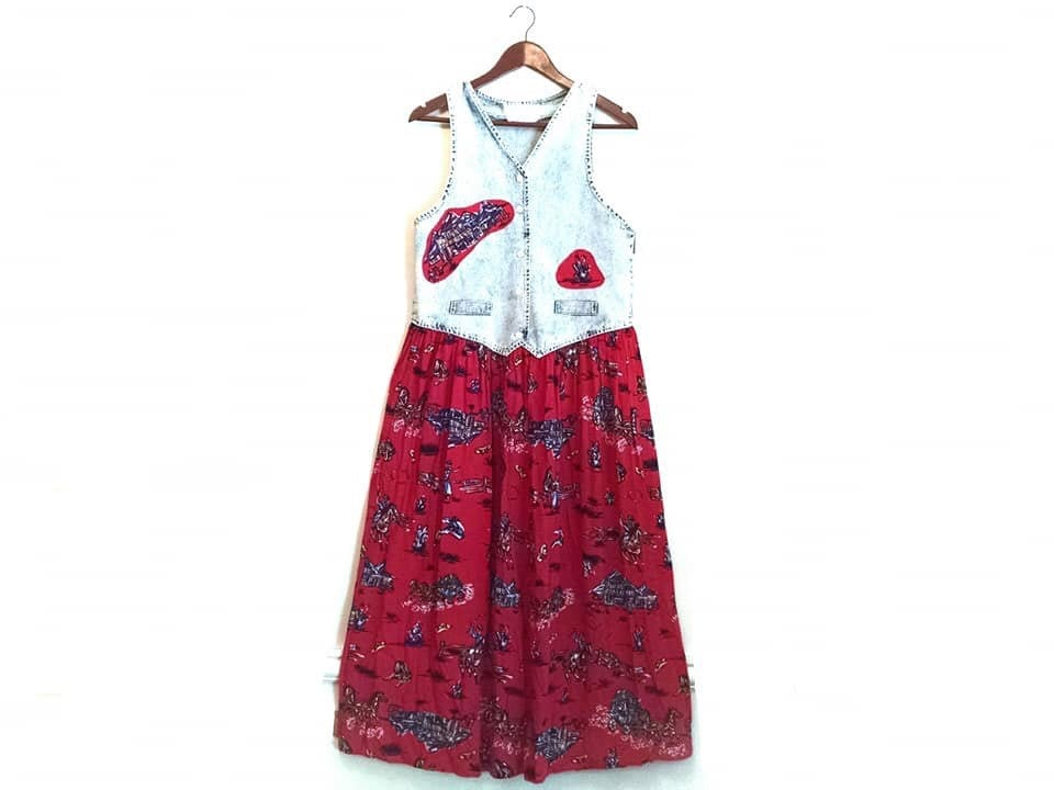 80s Dresses   Casual to Party Dresses Vintage 1980S Acid Wash Prairie Country Western Cowgirl Denim Maxi Dress $30.00 AT vintagedancer.com