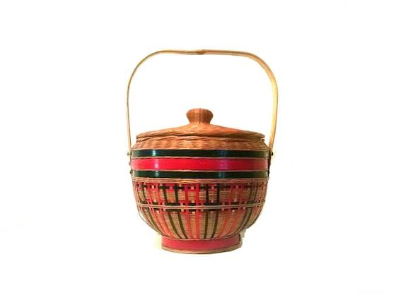 Vintage wicker basket bohemian basket purse // vin